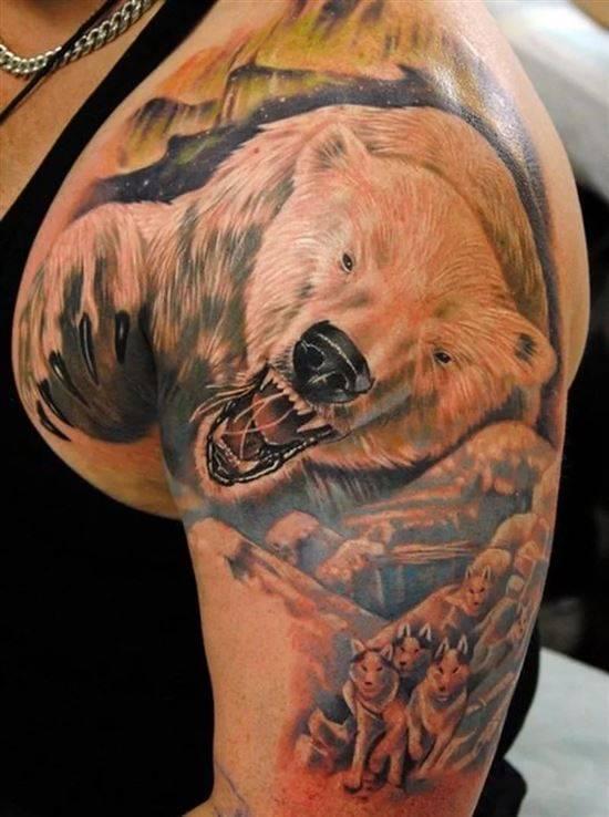 Татуировка мужская графика на плече медведь - мастер Дарья Iki ... | 738x550