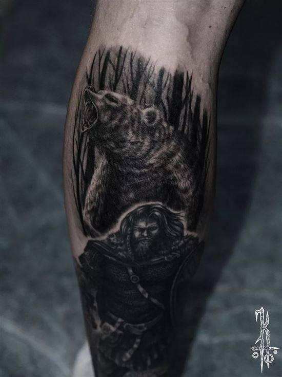 Тату медведь в лесу - фото | Татуировки с медведями гризли ... | 734x550